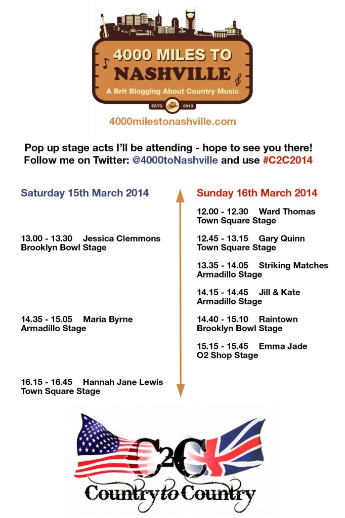 My Country 2 Country 2014 Pop Up Stage Schedule