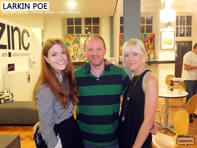 Me (Steve) with Larkin Poe at Zinc Arts Centre, Chipping Ongar - June 27th 2014